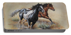 Portable Battery Charger featuring the painting Mustang Glory by Kim Lockman