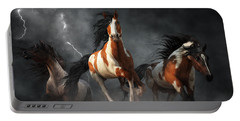Mustangs Of The Storm Portable Battery Charger by Daniel Eskridge