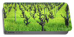 Mustard Flowers In The Vineyards Portable Battery Charger