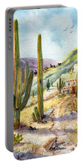 Portable Battery Charger featuring the painting My Adobe Hacienda by Marilyn Smith