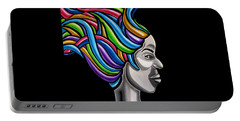 Abstract Female Face Artwork - My Attitude Portable Battery Charger