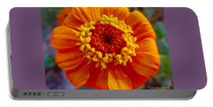 My Bit Of Orange Zinnia Heaven Portable Battery Charger by Kimberlee Baxter
