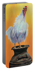 Portable Battery Charger featuring the painting My Crazy Chicken by Susan DeLain