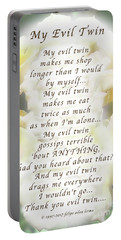 My Evil Twin Greeting Card And Poster Portable Battery Charger by Felipe Adan Lerma