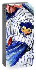 Portable Battery Charger featuring the painting My Favorite Chicago Cub by Terry Banderas