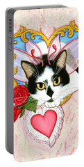 My Feline Valentine Tuxedo Cat Portable Battery Charger