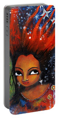Portable Battery Charger featuring the mixed media My Hair Is Being Pulled By The Stars  by Prerna Poojara