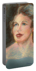 Portable Battery Charger featuring the pastel My Mother by Denise Fulmer