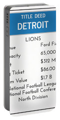 My Nfl Detroit Lions Monopoly Card Portable Battery Charger
