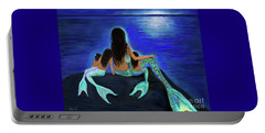 Portable Battery Charger featuring the painting My Precious Bunch by Leslie Allen