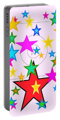 Portable Battery Charger featuring the painting My Stars by Denise Fulmer