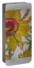 Portable Battery Charger featuring the drawing My Version Of A Van Gogh Sunflower by AJ Brown