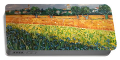 My View Of Arles With Irises Portable Battery Charger by Belinda Low