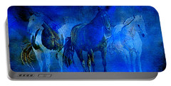 Portable Battery Charger featuring the painting My Whole World Turns Misty Blue by Hanne Lore Koehler