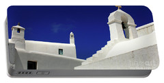 Portable Battery Charger featuring the photograph Mykonos Greece Architectual Line 5 by Bob Christopher