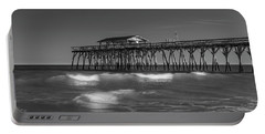 Myrtle Beach Pier Panorama In Black And White Portable Battery Charger
