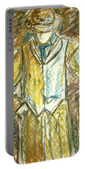 Portable Battery Charger featuring the painting Mystery Man by Cathie Richardson