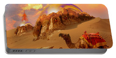 Portable Battery Charger featuring the digital art Mystic Desert by Alexa Szlavics