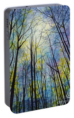 Portable Battery Charger featuring the painting Mystic Forest by Hailey E Herrera