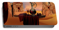 Portable Battery Charger featuring the digital art Mystic Ruins In Desert by Alexa Szlavics