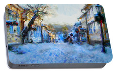 Portable Battery Charger featuring the digital art Naantali Old Town In Winter by Kai Saarto