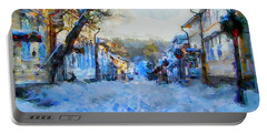 Naantali Old Town In Winter Portable Battery Charger by Kai Saarto
