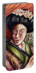 Portable Battery Charger featuring the painting Nadeshiko by Hiroko Sakai
