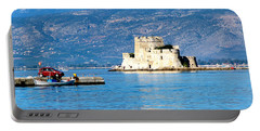 Portable Battery Charger featuring the photograph Naflion Greece Harbor Fortress by Phyllis Kaltenbach