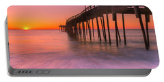 Nags Head Avon Fishing Pier At Sunrise Portable Battery Charger by Ranjay Mitra
