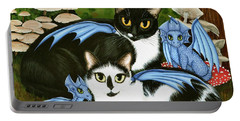 Portable Battery Charger featuring the painting Nami And Rookia's Dragons - Tuxedo Cats by Carrie Hawks