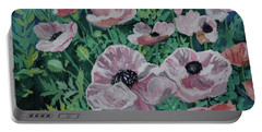 Portable Battery Charger featuring the painting Nancy's Poppies by Robin Maria Pedrero
