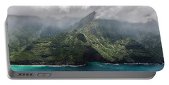 Napali Coast In Clouds And Fog Portable Battery Charger