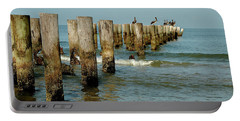 Naples Pier And Pelicans Portable Battery Charger
