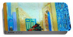 Portable Battery Charger featuring the painting Narrow Street In Hammamet by Ana Maria Edulescu