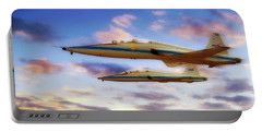 Portable Battery Charger featuring the photograph Nasa T-38 Talons At Sunrise - Pilot - Airplanes by Jason Politte
