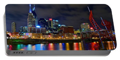 Nashville After Dark Portable Battery Charger by Frozen in Time Fine Art Photography