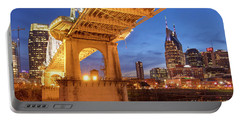 Portable Battery Charger featuring the photograph Nashville Bridge IIi by Brian Jannsen