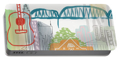 Nashville Cityscape- Art By Linda Woods Portable Battery Charger