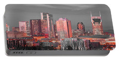 Nashville Skyline Art Version 2018 1 To 4 Ratio Panorama Color Portable Battery Charger