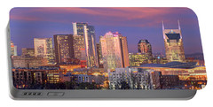 Nashville Skyline At Dusk 2018 1 To 4 Ratio Panorama Color Portable Battery Charger