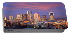 Nashville Skyline At Dusk 2018 Panorama Color Portable Battery Charger