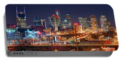 Nashville Skyline At Night 2018 Panorama Color Portable Battery Charger