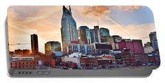 Nashville Skyline At Sunset Portable Battery Charger