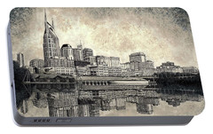 Portable Battery Charger featuring the mixed media Nashville Skyline II by Janet King