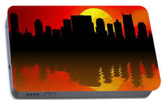 Nashville Skyline Sunset Reflection Portable Battery Charger by Dan Sproul