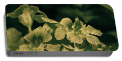 Nasturtium Black And White Portable Battery Charger