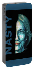 Nasty - Hillary Clinton Portable Battery Charger by Konni Jensen