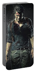 Portable Battery Charger featuring the digital art Nathan Drake - Uncharted by Taylan Apukovska