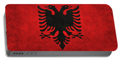 Portable Battery Charger featuring the digital art National Flag Of Albania With Distressed Vintage Treatment  by Bruce Stanfield
