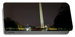 Portable Battery Charger featuring the photograph National Mall At Night by Angela DeFrias